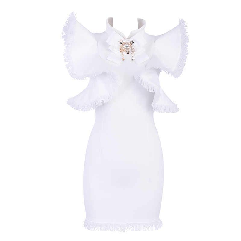 Новинка 2019, вечерние платья знаменитостей, водолазка, бриллианты, рукав бабочки, однотонные, черные, белые, высокое качество, подарок на день рождения, женский сарафан