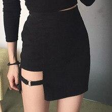 Новинка, сексуальная Женская Асимметричная юбка, высокая талия, Готическая танцевальная клубная одежда, женские облегающие мини-юбки черного цвета