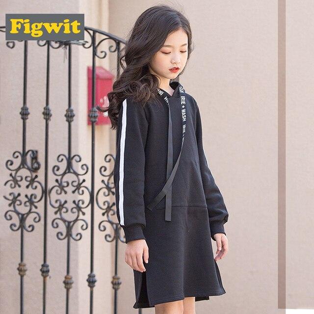 Свитер для девочек, платье с длинным рукавом, утепленное теплое осенне-зимнее однотонное черное повседневное ТРАПЕЦИЕВИДНОЕ ПЛАТЬЕ для детей, худи для девочек 11 лет
