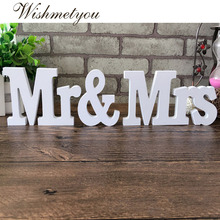 WISHMETYOU Wedding Decorations bride to Mr & Mrs Valentines Day Party Groom Bride Scene Decoration White wood material