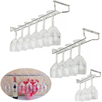 New Whine Glass Cup Holder Rack Stemware Holder Under Cabinet Chrome Household Home Bar Pub 27