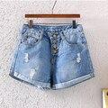 2015 женщин джинсовые шорты летняя мода европейский большое отверстие твердые джинсы шорты леди джинсовые шорты большие девочки печати briefblueshorts34