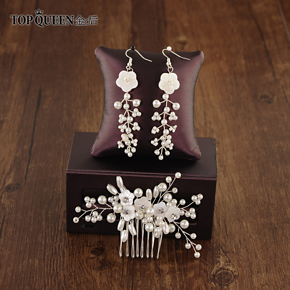 TOPQUEEN HP162 Wedding Hair Accessories Hair Comb With Hand-carved Plum And Rice-shaped Pearls Bride Hair Jewelry High Quality