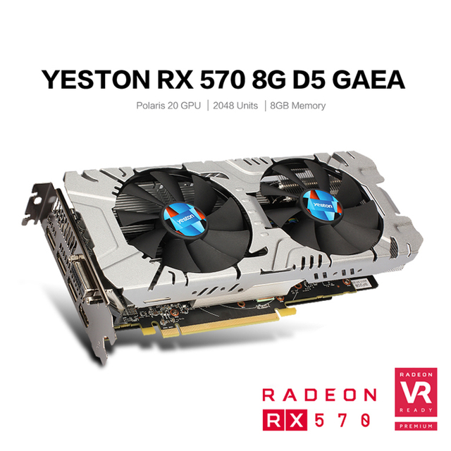 Yeston Radeon RX 570 GPU 8GB GDDR5 256 bit Gaming Desktop computer PC Video Graphics Cards support DVI/HDMI PCI-E X16 3.0 4