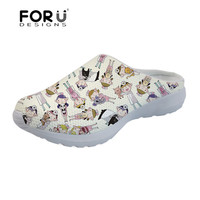 FORUDESIGNS Women's Sandals Veterinarian Printing Summer Slippers Ladies Slip on Mesh Sandals for Females Cartoon Nursing Shoes