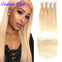Fashion Plus 613 Blonde Straight Brazilian Hair Weave Human Hair Bundles with Closure 3PC Remy Hair and13x4 Lace Frontal Closure