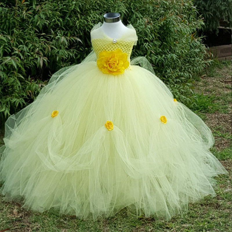 Beauty and the Beast Belle Princess Tutu Dress Baby Kids Party Christmas Halloween Cosplay Costume Flowers Girls Ball Gown Dress girls beauty and the beast cosplay ball grown kids party halloween fancy dress up outfits girls tutu full length sparkle dress