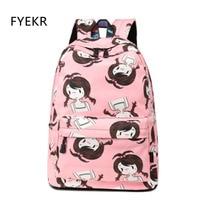 Backpack Canvas Women Fashion Printed Bookbag Casual Children Backpacks Pink School Bags For Teenage Girls 2018 Mochila infantil