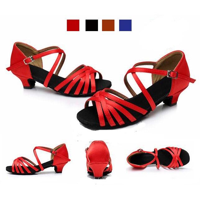 Energisch Heißer Verkauf Berufs Satin Latin Dance Schuhe Mädchen Kinder Salsa Ballsaal Schuhe Zapatos De Baile Latino Mujer GroßEr Ausverkauf