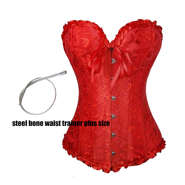 b808cdf950 2015 Sexy plus size steampunk womens corset 6xl plus size women lingerie steel  boned corset costumes waist trainer corsets