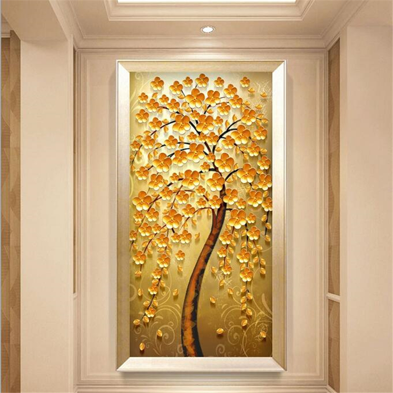 beibehang Custom wallpaper 3d photo mural European-style golden fortune tree Abstract Nordic porch decorative painting wallpaper