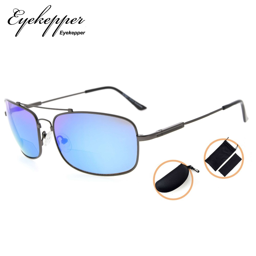 SG1805   Eyekepper Bifocal Sunglasses with Bendable Bridge and Temples Memory Reading Sunglasses Lightweight Titanium