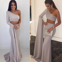 Two Pieces One Shoulder Mermaid Satin Prom Gowns Custom Made Long Dresses Sexy New Style Women's Formal Party Dresses