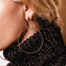 Новые европейские Большие серьги кольца aros для женщин двойная