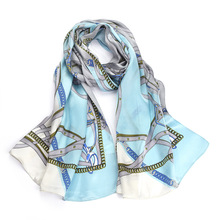 New Womens Silk Scarf 2019 100% Blue Printed Soft Comfortable Natural Fabric High Quality Long