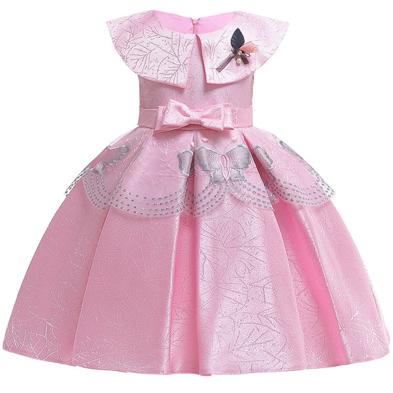 Girls Wedding Party High-end Silk Satin Communion Dinner Party Dresses New Girl Doll Collar Pink Embroidered Piano Party Dress