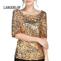 LARGERLOF T Shirt With Sequins gold Color Plus Size Women Tshirt Half Sleeve Woman Fashion 2019 TT47716