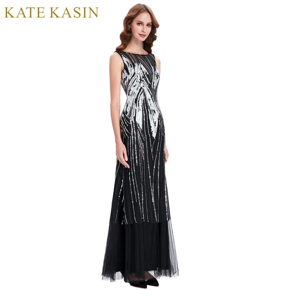 Kate Kasin Sequined Long   Prom     Dresses   2017 Robe de Soiree Evening Party   Dress   Black White Tulle   Prom   Gowns Pageant   Dresses   0059
