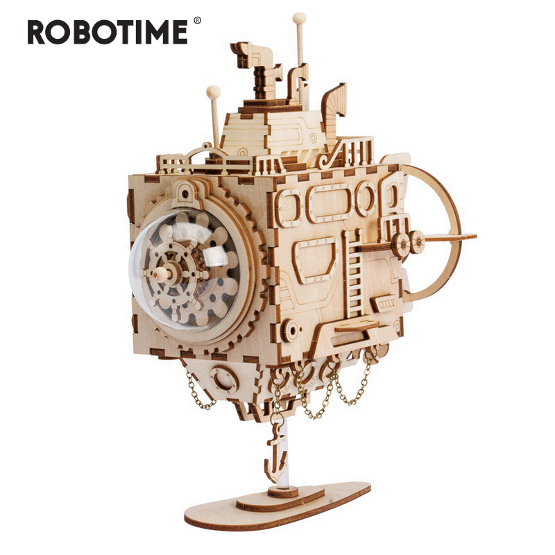 Robotime Creative DIY 3D Steampunk Submarine Wooden Puzzle Game Assembly Music Box Toy Gift for Children Teens  AM680