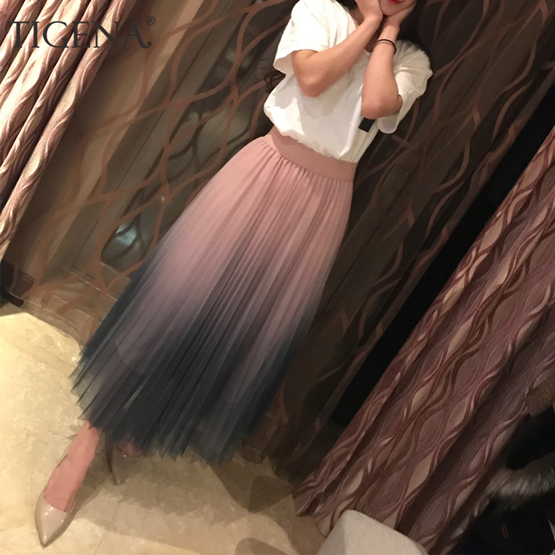 TIGENA 2019 Gradient Color Summer Tulle Skirt Women High Waist Pleated Long Skirt Female A-line White Pink Tutu School Skirt Sun