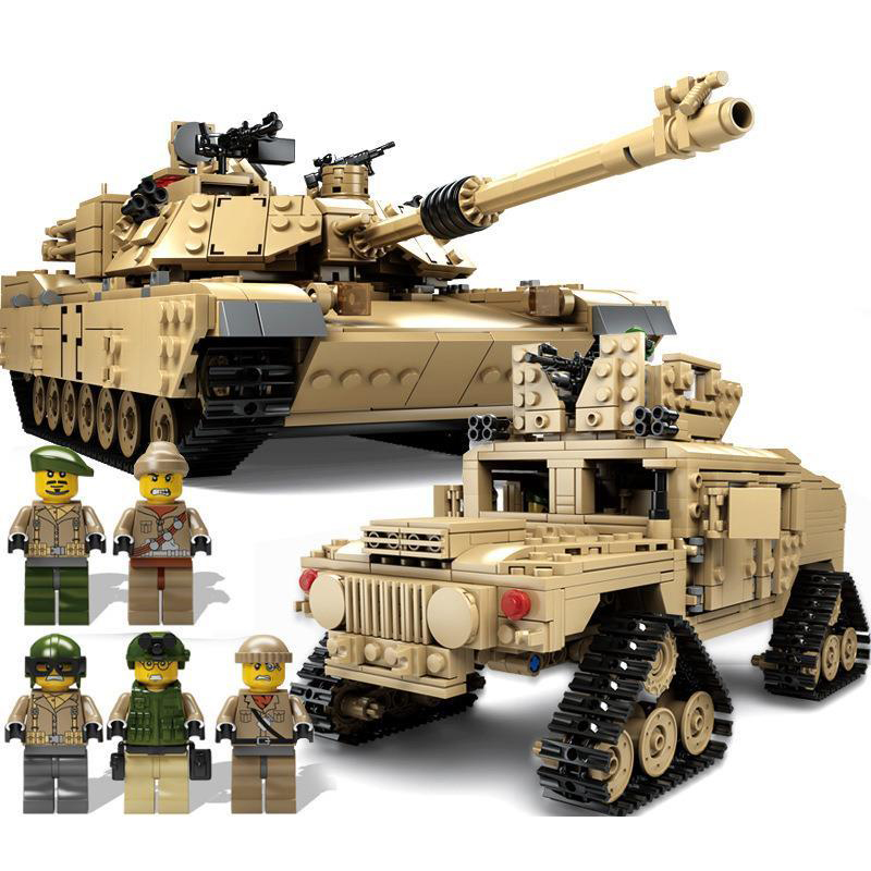 Hummer Models List >> KAZI 1463Pcs building blocks M1A2 ABRAMS Military Tank Toys 1:28 MBT And 1:18 HUMMER Scale Model ...
