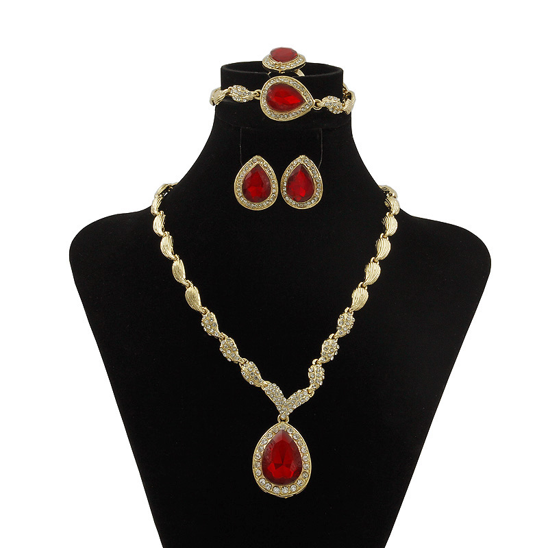 Black Friday Big Sales!! New 2017 Fashion Element Gold Water Droplets Jewelry Sets Fashion Quality Big Red Crystal Jewelry Sets
