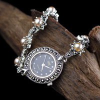 New Arrival Limited Edition S925 Pure Silver Watch Natural Pearls Lady Thai Silver Bracelet Fine Jewelry Rhinestone Bangle Watch