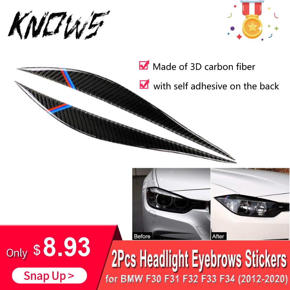 Fibra de carbono faro cejas espejo retrovisor Anti-tiras de frotación pegatinas cubrir decoración Exterior para BMW F30 F31 F32 F33 F34
