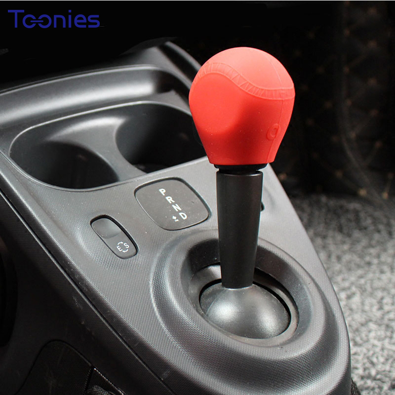 15-17 Smart Fortwo Forfour Auto Gear Shift Cover Silica Gel Car Interior Accessories Smart Logo Red Gear Knob Cover Car Styling gear shift