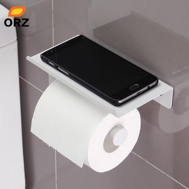 Beau ORZ Toilet Paper Holder With Mobile Phone Storage Shelf Rack Wall Mount  Bathroom Tissue Holder Bathroom