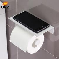 ORZ Wc Suporte de Papel Com Prateleira de Parede Rack de Armazenamento Do Telefone Móvel Montar Titular Tecido De Banheiro Banheiro Rack De Armazenamento Organizador