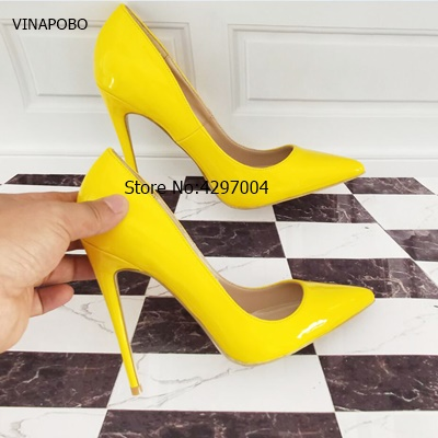 7ca7af02028 US $34.99 40% OFF|VINAPOBO Brand Shoes women 10 12CM Stiletto Heels Women  Shoes Pumps Neon Yellow Sexy High Heels Party wedding Shoes Big Size 43-in  ...