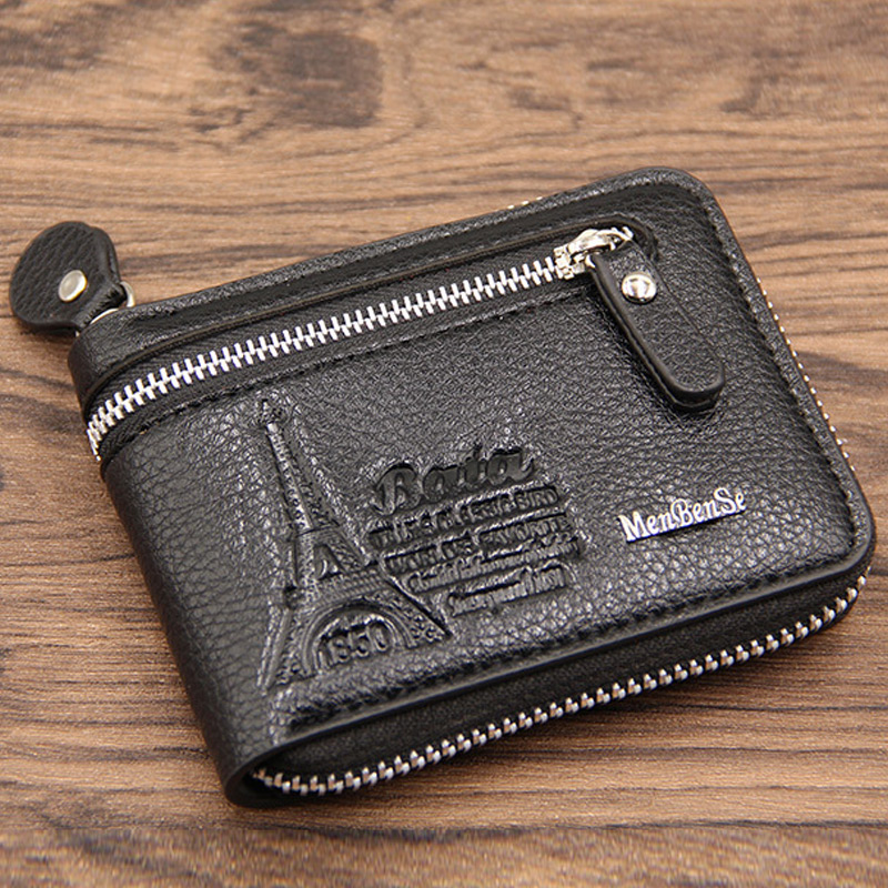 2018 New Fashion Soft Leather Men Wallet Small Men Walet Zipper Male Short Coin Purse Brand High Quality