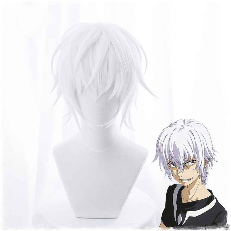 Toaru Majutsu No Index Accelerator Cosplay Wig For Man Boys  30cm Short Straight Anime Wig Heat Resistant Synthetic Hair White