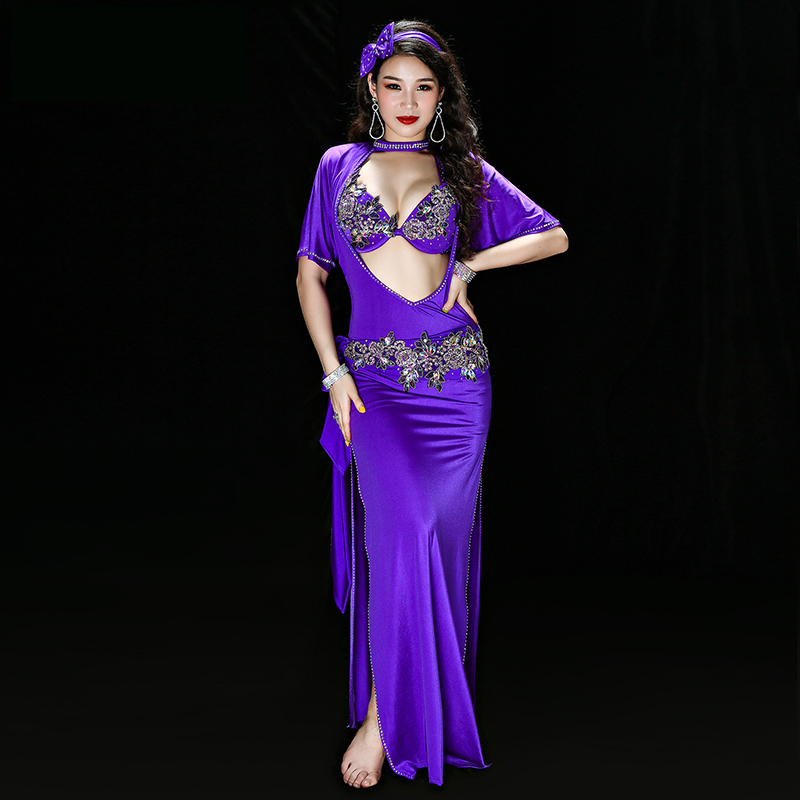 Egyptian Belly Dance Embroidery Saidi Dress Baladi Galabeya Lycra Costume Dress+bra+headpiece+belt+shorts Belly Dance Dresses