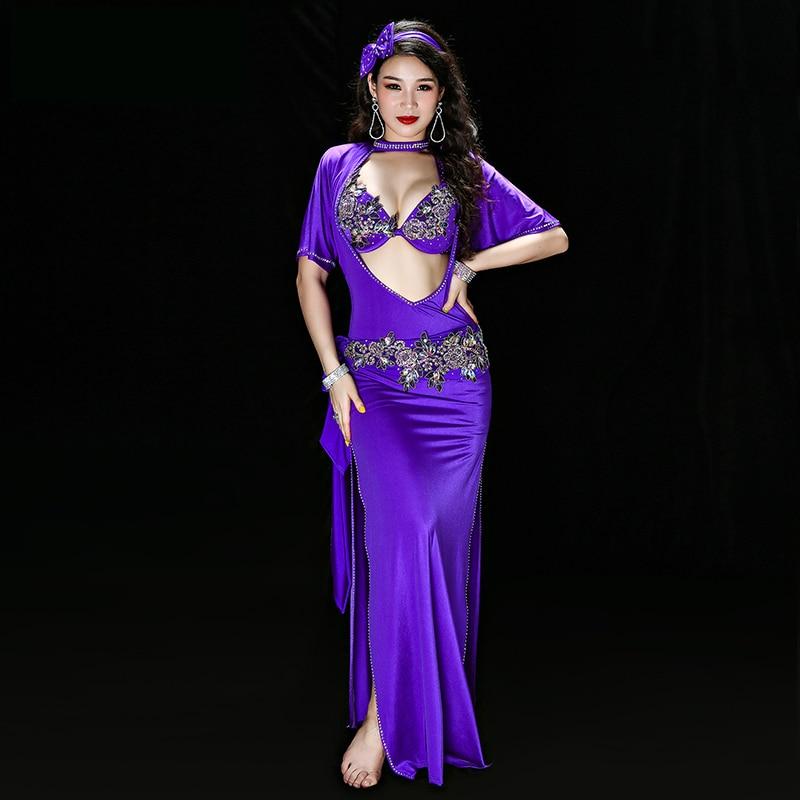 Egyptian Belly Dance Embroidery Saidi Dress Baladi Galabeya Lycra Costume Dress+bra+headpiece+belt+shorts Belly Dance Dresses