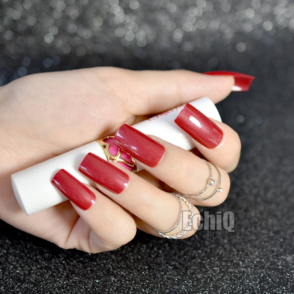 20pcs/kit UV Extra Long Candy Finished Nails Dark Red Shimmer ...