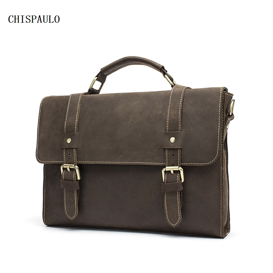 CHISPAULO Vinatge Crazy Horse Men Bags Men Messenger Bags Shoulder Leather Laptop Bag Mens Briefcase Portfolio Genuine new  T748 цена и фото