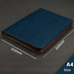 Carpeta multifuncional de cuero de PU A4 carpetas para documentos portafolio a4 con carpeta de 4 anillas carpetas con cremallera maletín