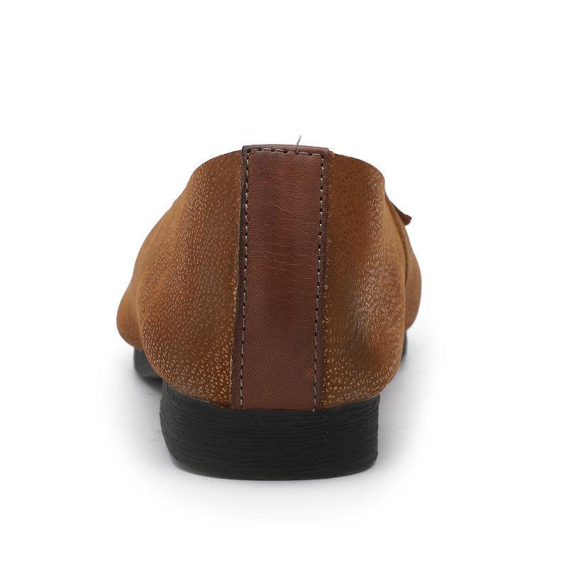 Mocassins Rétro Glissement Confortable Fond Sur Tête Femmes Plates Ronde Nouvelles Cuir Peu Profonde Chaussures brown 2019 Bouche Mou En Coffee De Véritable FHwTq