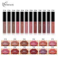 NICEFACE Liquid Matte Lipstick Long Lasting Elegant 12 Nude Colors Lip Gloss Combination Set Waterproof Lipgloss