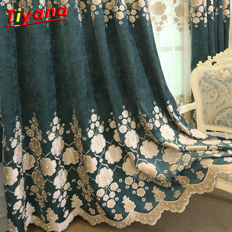Blue luxury blackout bedroom flowers curtain panels off - Off white curtains for living room ...