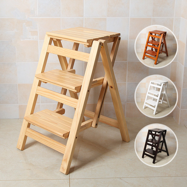 Wooden Step Stool Chair Best Chairs For Nursery Uk Multi Functional Ladder Bench Seat Wood Folding 3 Tier Any Task Around The Kitchen Office Bathroom