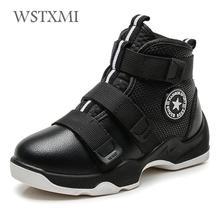 Baskets chaudes en peluche, chaussures pour garçons, chaussures dautomne, hiver, à la cheville, en cuir véritable, style Martin