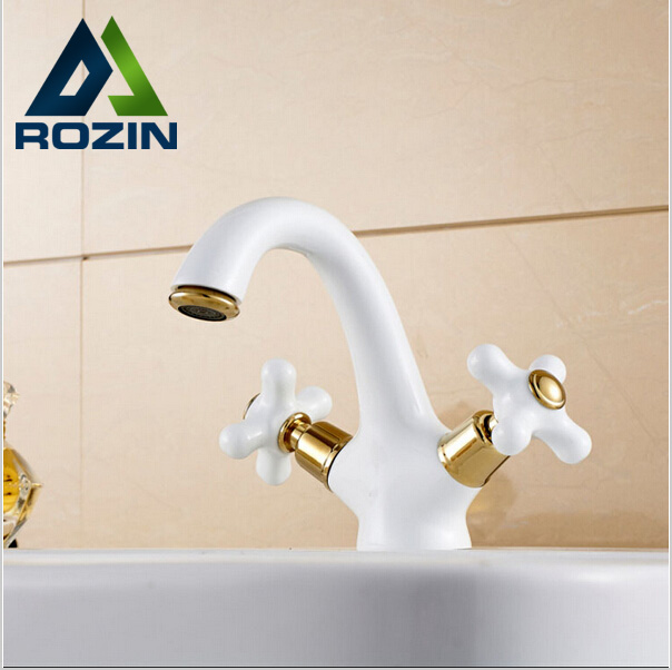 ФОТО Dual Cross Handles White Color Basin Mixer Taps Bathroom  Hot and Cold Sink Faucet