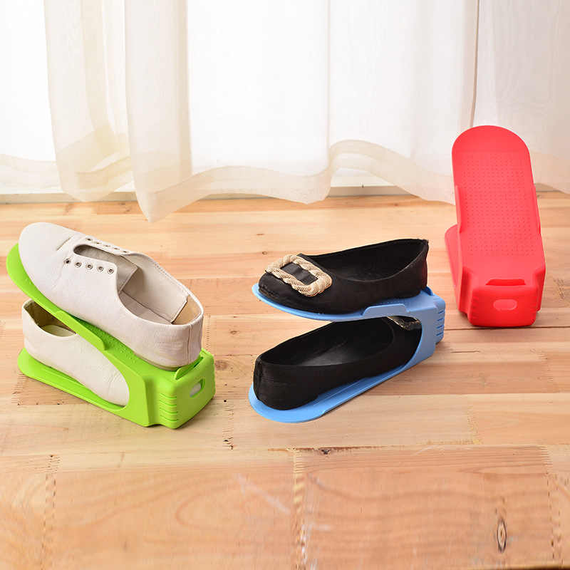 6Pcs 2pcs Double Shoe Rack Adjustable Slipper Organizer Range Shoe Holder  Storage Stand Space Saver 8db1695e7f8c