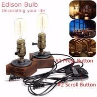 E27 40W Vintage Desk Light Industrial Retro Wooden Socket Table Lamp Lighting Fixture Dimmable Cafe Decor