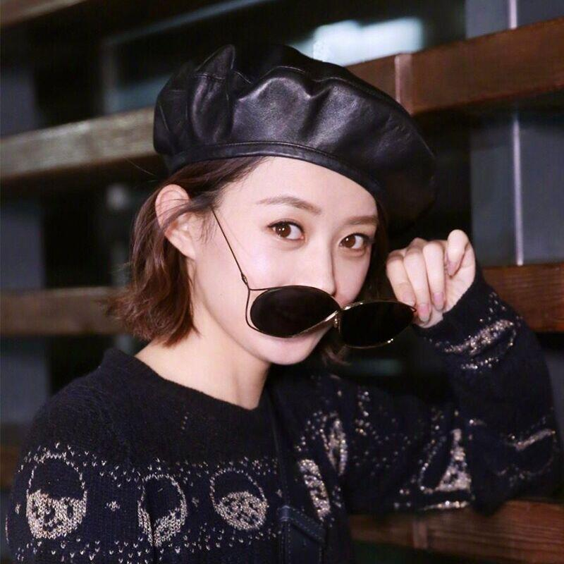 66dee492b93d9 SUOGRY Fashion Black Leather Beret Female French Beret Hat Winter Painter  Hat For Women Spring Summer Autumn-in Berets from Apparel Accessories on ...