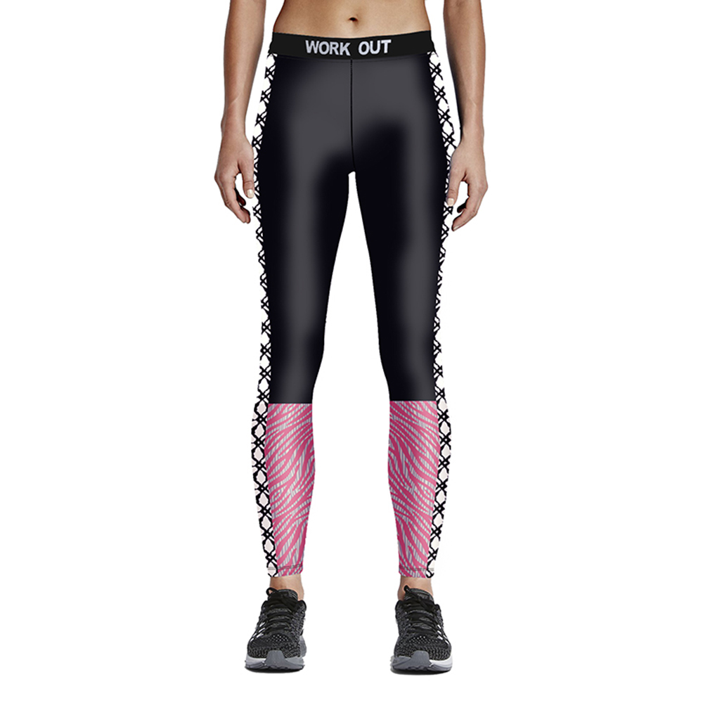 Hot sales New popular fashion 3D Woman fitness color matchpink with line black 9-point tie waist pants Drop/ Free shipping