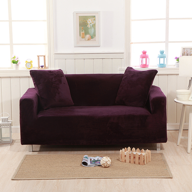 2018 Simple Dark Purple Microfiber Stretch Elastic Chair Loveseat L Shape  Sectional Sofa Cover Slipcover Spandex